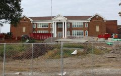 The original entrance to Brentwood High School in the middle of the two year construction process.