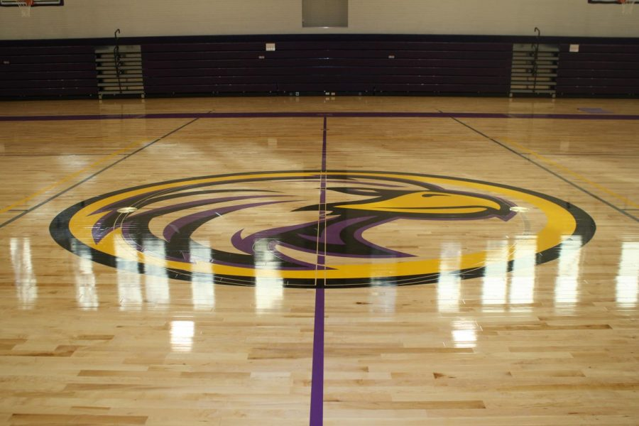 The brand new gym floor includes the Brentwood Eagles logo.