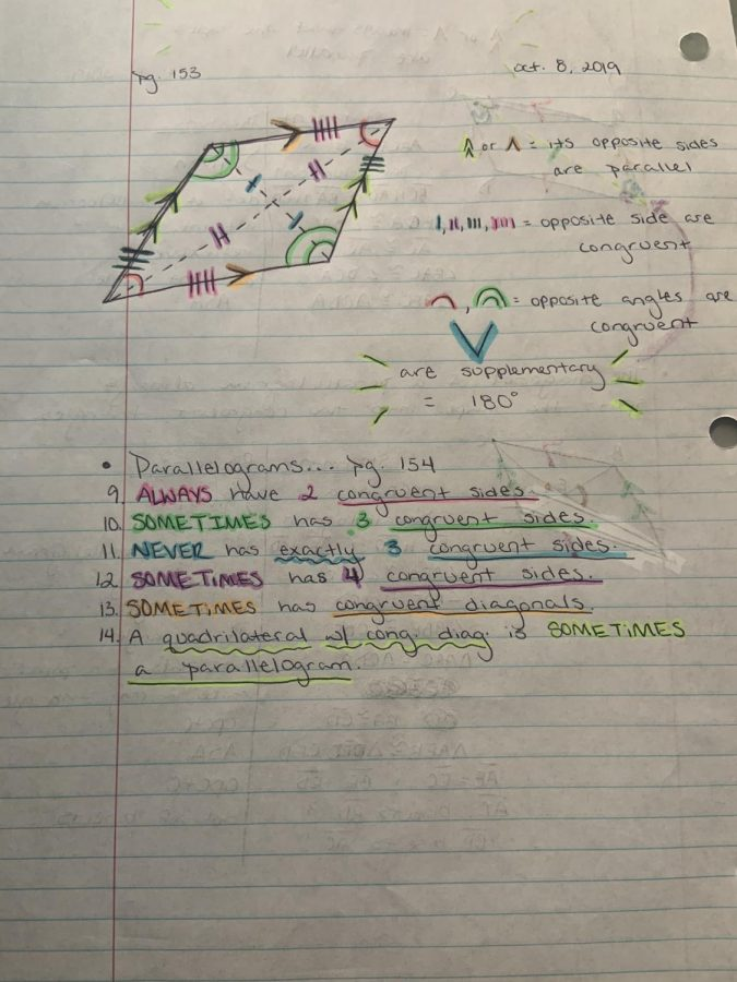 Penny Herrera's geometry notes which have the date, page number, and bright colors.