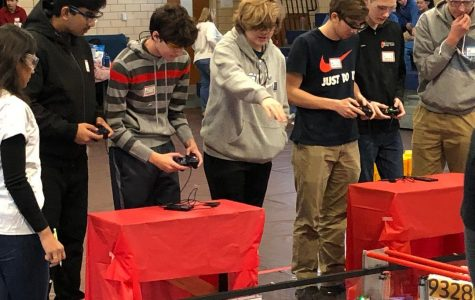 Brentwood High School competing with lots of focus in a Robotics competition
