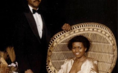 First Lady Michelle Obama's prom photo with her date from 1982.