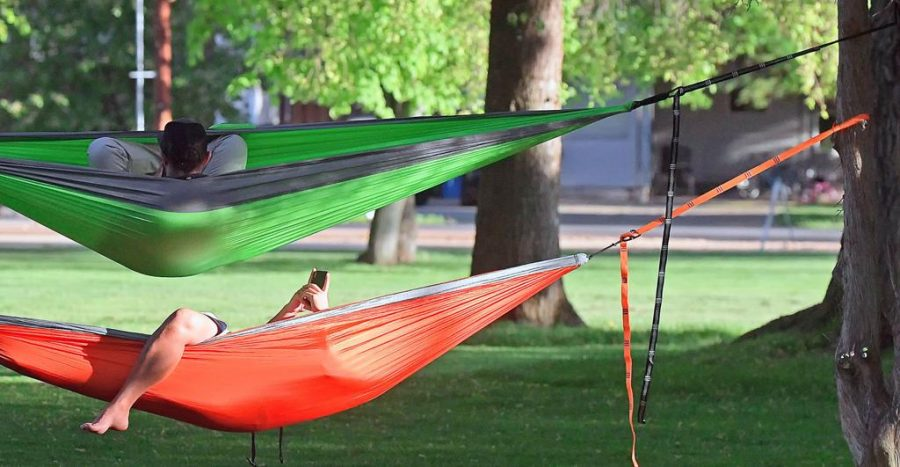 Hammocking is a great way to relax and spend time with friends.