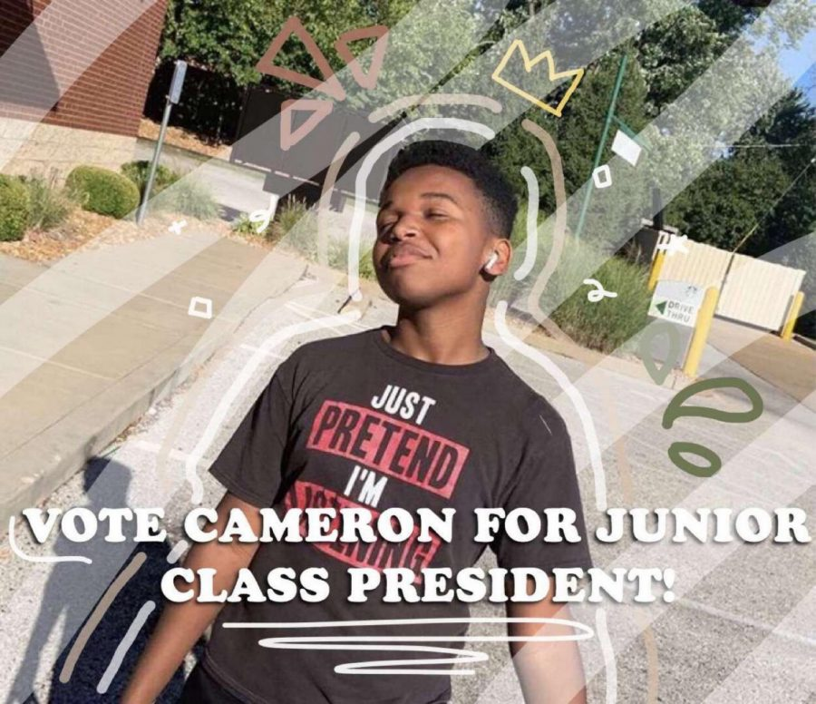 Junior class president, Cameron Bethea, poses for his campaign photo.