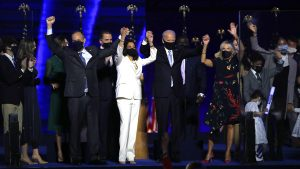 President elect Joe Biden and Vice President elect Kamala Harris celebrate their victory with their staff.