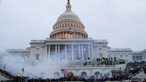 Rioters outside the Capitol building on January 6th