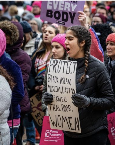 Brentwood alum, Sofia Flores, passionately marches alongside her fellow feminists at the 2017 womens march.